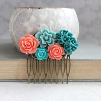 Flower Hair Comb Teal and Coral Floral Collage Comb Country Boho Chic Bridesmaid Gifts Beach Wedding Flowers for Hair Christmas Gift for her