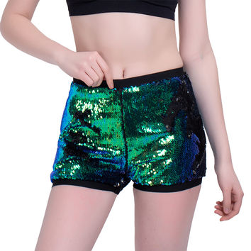 Women Sequins Shorts Streetwear Loose Casual Shorts Sexy Slim High Waist Rolled Hem Culotte Lacing Bottom A-Line Shorts