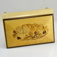 Sorrento Italy Inlay Musical Jewelry Box - Reuge Swiss Movement Plays Somewhere Out There - Inlaid Floral Design Ring Box