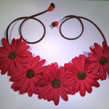 Red Daisy Flower Headband, Flower Crown, Flower Halo, Festival Wear, EDC, Ultra Music Festival, Rave