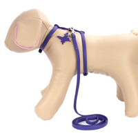 Adjustable Dog Harness and Lead set for Small Dog Breeds Genuine Leather Purple
