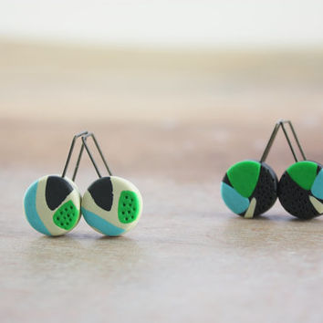 Funky whimsical abstract earrings, colorful contempoary artisan polymer clay jewelry