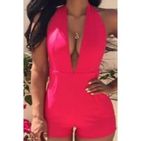 Sexy Plunging Neck Solid Color Open Back Sleeveless Romper For Women   Kitty's Clawset