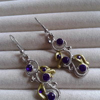 Closing sale - purple crystal silvertone charm  dangle earrings