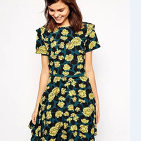 Green And Yellow Rose Print Short-Sleeve Romper