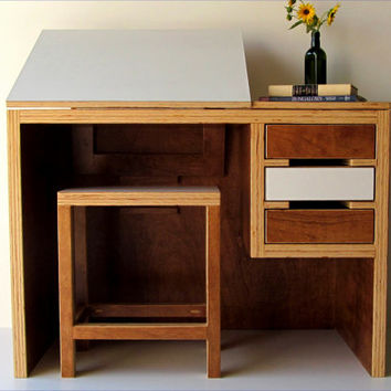 Modern drawing desk with matching stool by TheOffWhiteDog on Etsy