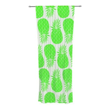 "Anchobee ""Pinya Neon Green"" Lime Pattern Decorative Sheer Curtain"