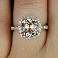 Barra Princess Size 14kt Rose Gold Thin Morganite Cushion Halo Engagement Ring (Other metals and stone options available)