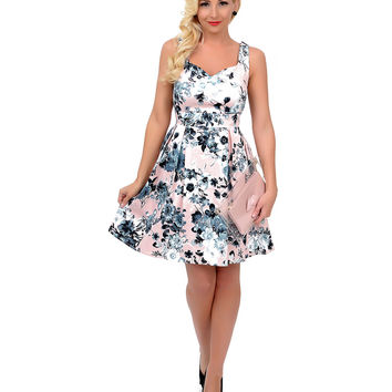 Pink & Slate Grey Floral Sleeveless Fit N Flare Short Dress
