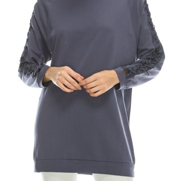 Blue Lace Up Sleeve Tunic Sweater (final sale)