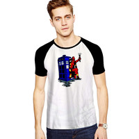 deadpool has the TARDIS For Short Raglan Sleeves T-shirt, Red Tees, Black Tees, Blue Tees