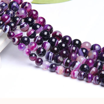 New Arrival Purple Stripped Agate Lot Natural Stone Beads For Jewelry Making Bracelet Round Diy Crystal Beads 4mm 6mm 8mm 10mm