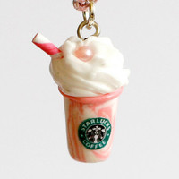 Starbucks necklace polymer clay pink strawberry milkshake kawaii miniature cute - pink necklace
