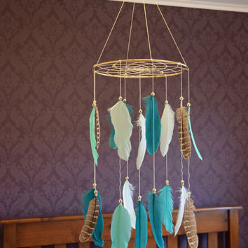 Baby Nursery Mobile, Woodland Nursery Mobile, Dreamcatcher Mobile, Native American Style, Woodland Decor, Baby Boy Nursery, Feathers