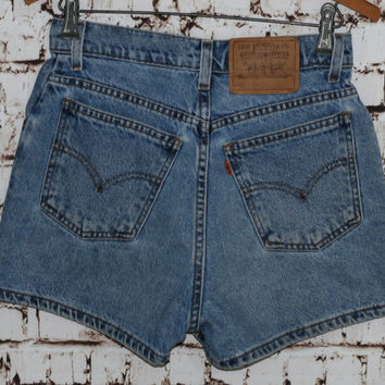 90s High Waist Denim Shorts Levis 912 Slim Fit Festival Boho Hipster Grunge Medium Wash 26 XS S 80s Jean Waisted Distressed Pastel Goth