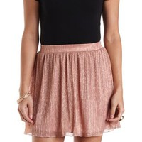 Crinkled Metallic Skater Skirt by Charlotte Russe