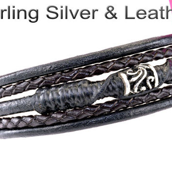 B-274 Aussie Made Sterling Silver & Leather New Wristband Bangle Men Bracelet