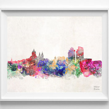 Amsterdam Skyline, Netherlands Watercolor, Poster, Dutch, Print, Bedroom, Cityscape, City Painting, Illustration Art, Europe [NO 422]