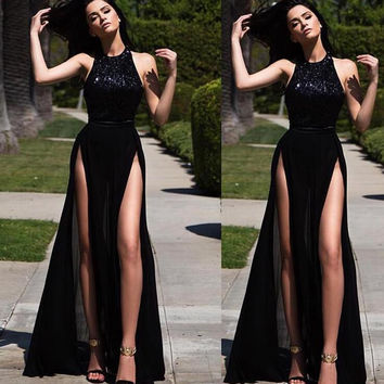 Sleeveless Black A-Line Chiffon Prom Dresses,Prom Dress