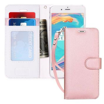DCCKRQ5 iPhone 7 Case, iPhone 8 Case, FYY [Kickstand Feature] Flip Folio Leather Wallet Case with ID&Credit Card Pockets for Apple iPhone 8/7 (4.7 inch) Rose Gold