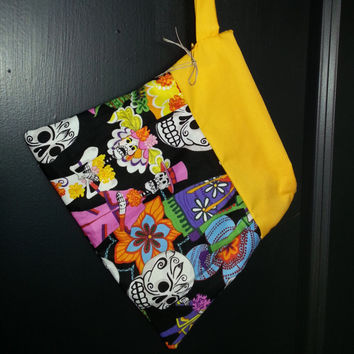 Clutch Yellow Sugar Skull Handmade Makeup Bag