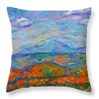 Misty Blue Ridge Autumn Throw Pillow