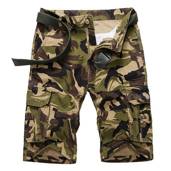 Mens Camo Printed Big Pockets Knee Length Cargo Pants Casual Cotton Beach Shorts