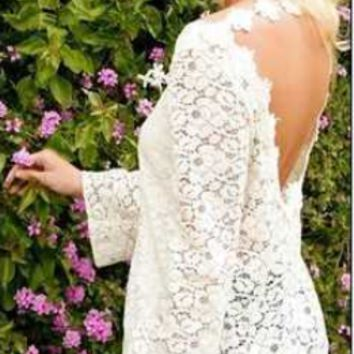 White Lace Cutout Back Long-Sleeve Shirt