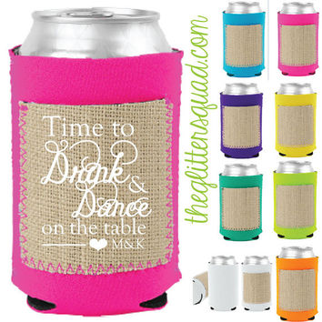 50 x Burlap Brights Neon Koozies with Save the date Pockets.  Spring Wedding Party Bridesmaids  sweet sixteen favors gifts.