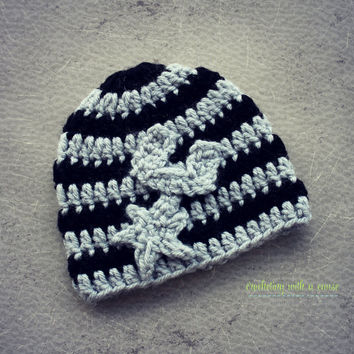Spurs Newborn Beanie - Crocheted - Silver and Black - With Spur - 3-6months - 6-12 Months