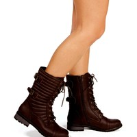 Brown Lace Up Double Buckle Boots