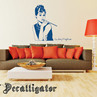 Wall Decal - Vintage Audrey Hepburn with Signature