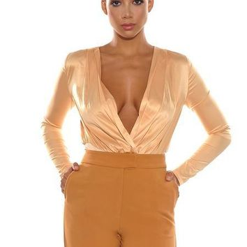 Honey Satin Cross Over Bodysuit