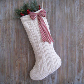Ivory Cable Knit Christmas Stockings with Bow created from a recycled vintage sweater