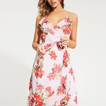 Daydream Gingham Floral Wrap Dress at Guess