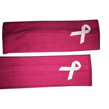 Two Breast Cancer Awareness Pink Headbands