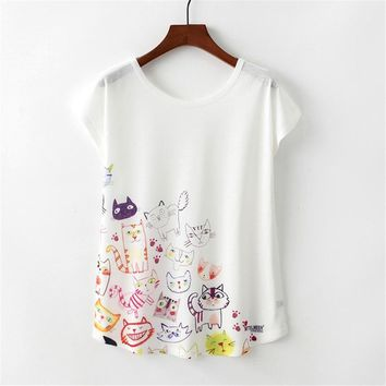 Summer Colorful Cat Print t-shirt