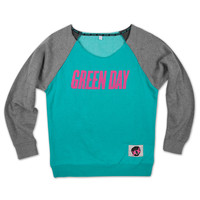 Green Day Logo Boatneck Fleece Shirt