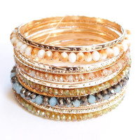 Ivory stones gold multi layered bangle bracelets