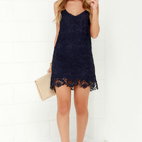 Castle in the Sky Navy Blue Lace Dress