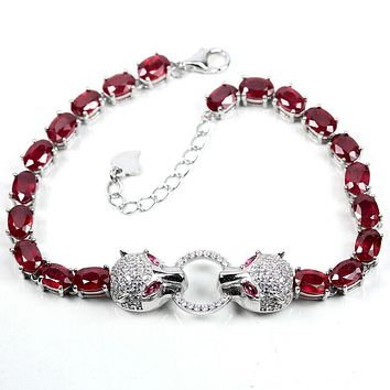 Classic Royal Red Ruby Panthere Bracelet