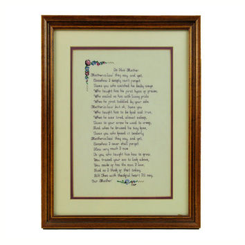 Mother-in-Law Counted Cross Stitch Embroidered Poem, Wall Hanging, 1980, UV Glass