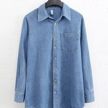 Blue Washed Denim Shirt Collar Long Sleeve Blouse