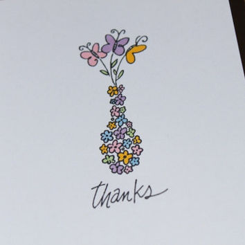 Thank You Cards Flowers Butterflies Hand Stamped by RoyalRegards