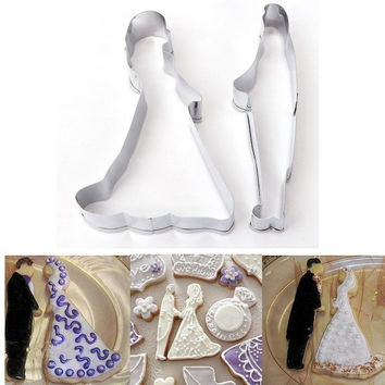 Stainless Steel Bride Groom Biscuit Pastry Cake Mold Love Wedding Cookie Cutter Mold Cake Decorating Mould = 1929414596