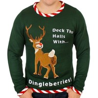 Rudolph Dingleberries Sweater in Green - Ugly Christmas Sweater