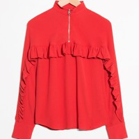 & Other Stories | Frill Zip Blouse | Red