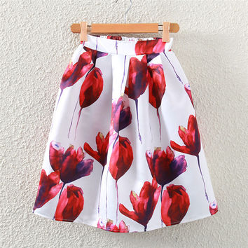 Vintage Rose Print Pleated Midi Skirt