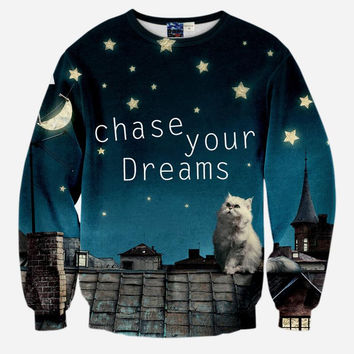 Chase Your Dreams Crew Neck Sweatshirt Men & Women Cats Kitten Harajuku Style All Over Print Cat Sweater
