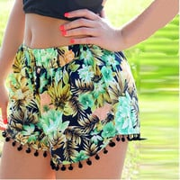 Multi-color Floral Print Fringed Shorts